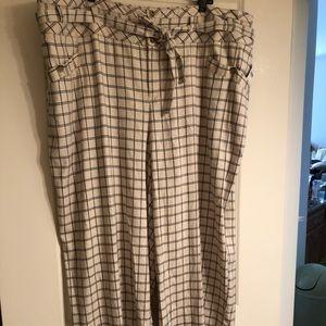 NWT Anthropologie A+ linen blend plaid pants sz 24